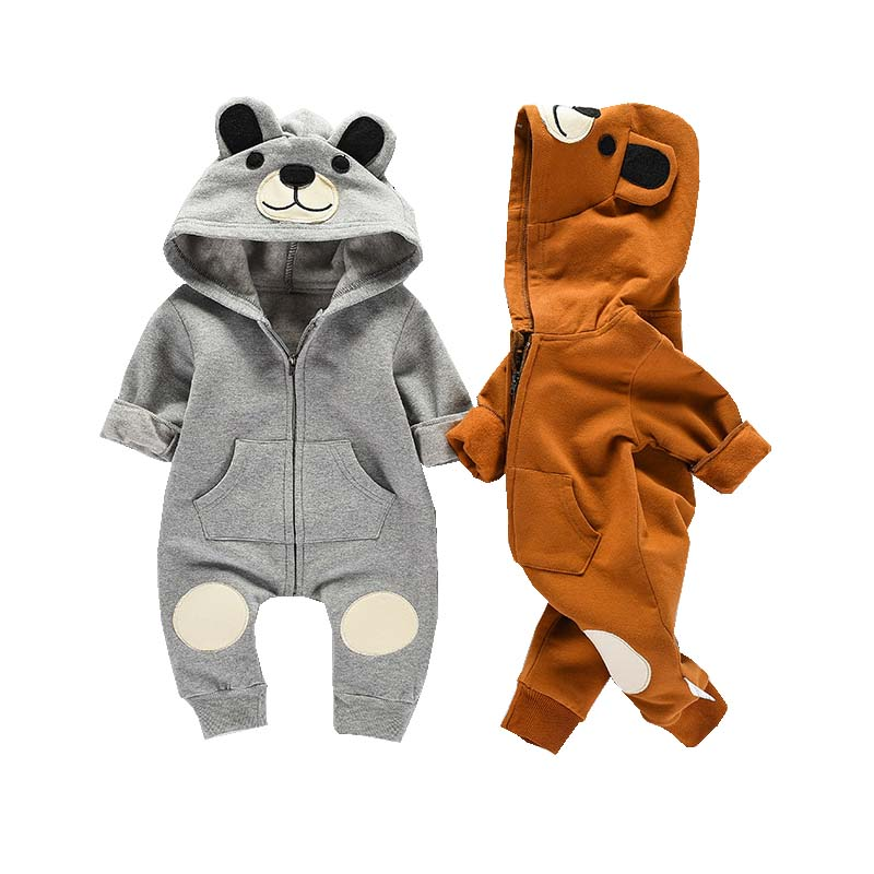 Baby Clothing Bear Rompers Newborns Body Suit Kids Clothes Boy Girl Jumpsuit Baby Hooded Romper Warm Cotton Infant Overalls 0-2Y new born baby girl clothes leopard 3pcs suit rompers tutu skirt dress headband hat fashion kids infant clothing sets