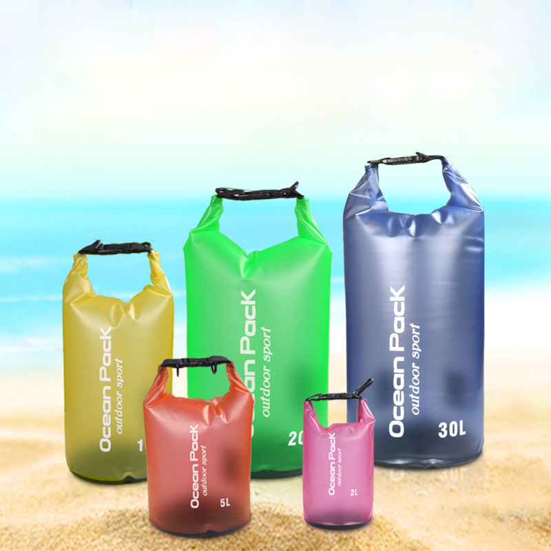 2L 5L 10L Translucent Waterproof Bag Storage Dry Bag Swimming Bag for Canoe Kayak Rafting Sports Outdoor Camping River Trekking
