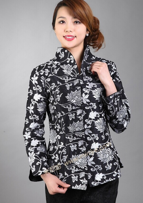 Hot Sale Black Lady Silk Polyester Coat Chinese Style Top Slim Tang Suit National Flower Clothing Size S M L XL XXL XXXL NJ84