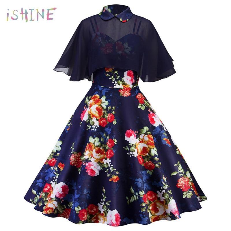 901468afc48a Vintage Hepburn Pin Up Women Dress Ruffle Floral Print Chiffon Retro Peter  Pan Collar Cloak Sleeve