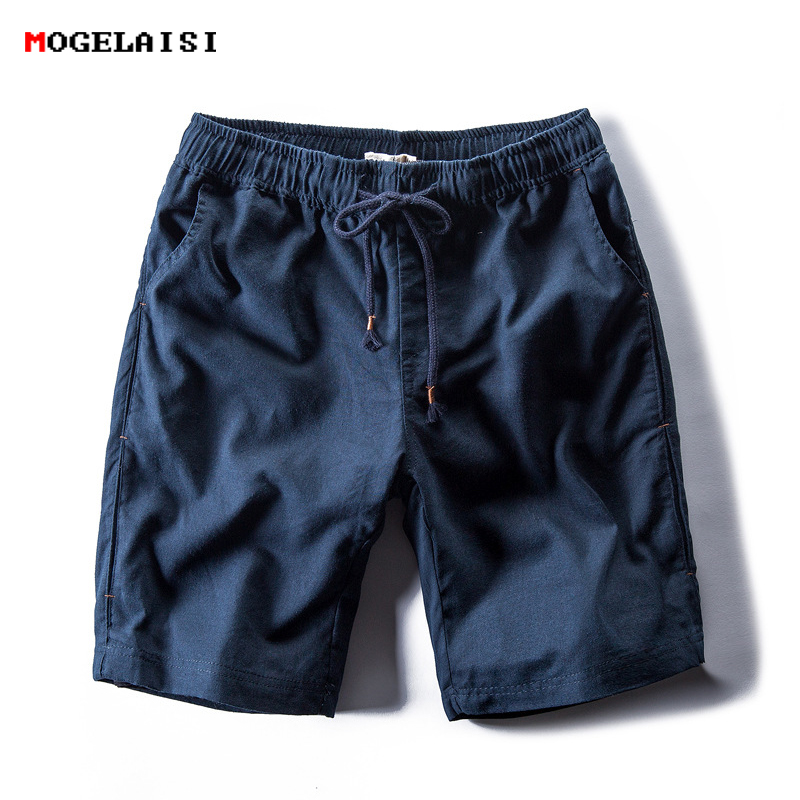 2019 New Summer Linen Shorts Men Solid Chinese Style Cotton Linen Loose Casual Shorts Straight Elastic Waist Shorts Asian Size