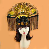 2019 Spring Fancy SHow Large Golden Lace Fan Fascinator Hat Hairband For Women Photo Shoot Party Wedding Ladies Fringe Headband
