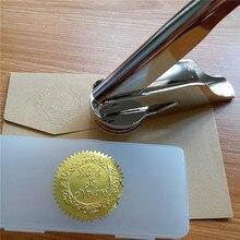새로운 디자인 나만의 사용자 정의 그림 로고 편지 개인화 된 Embosser 우표 결혼식 이름 날짜 이니셜
