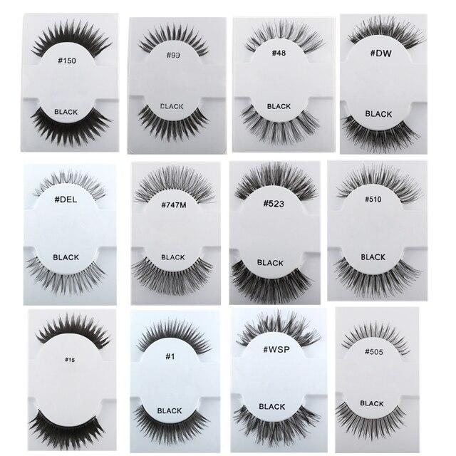 8752ef67cd2 1 Pair Handmade Soft Human Hair Black Long Cross Thick Curl False Eyelashes  Extension Full Strip