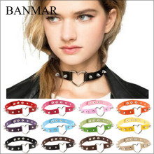 BANMAR Hot Women Lady Punk Gothic Harajuku Faux Leather Rivet Lover Heart Collar Choker Maxi Beauty Necklace Jewelry