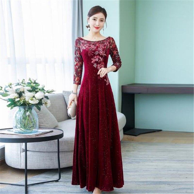 2019 dentelle brodée or velours robe femme nouvelle grande taille slim longue grande balançoire robe femmes à manches longues automne bas robes - 5