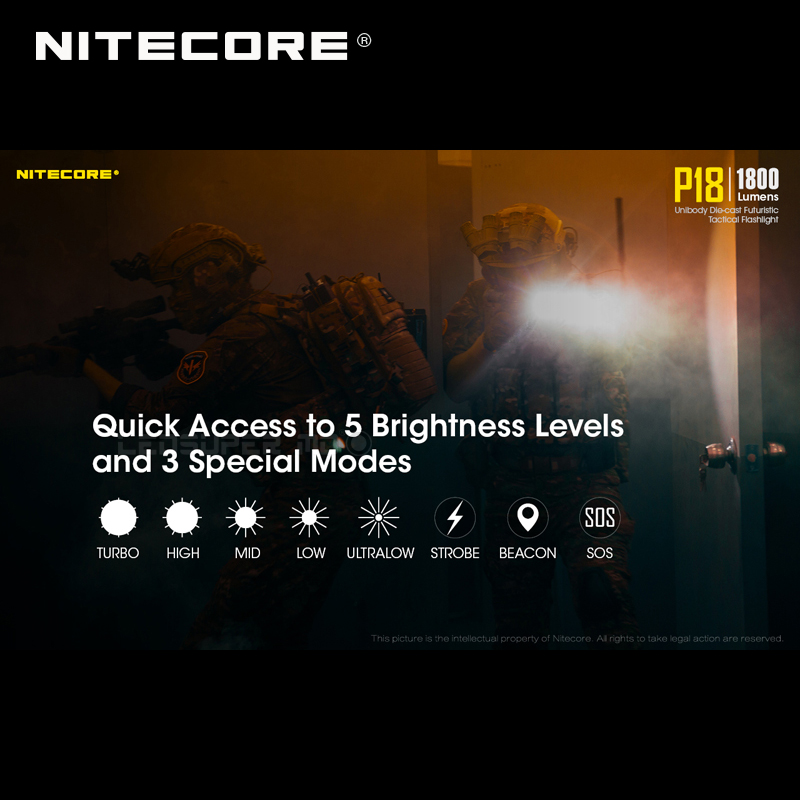 1800 Lumens Nitecore P18 Unibody Die case Futuristic CREE XHP35 HD LED Tactical Flashlight with Auxiliary Red Light - 5