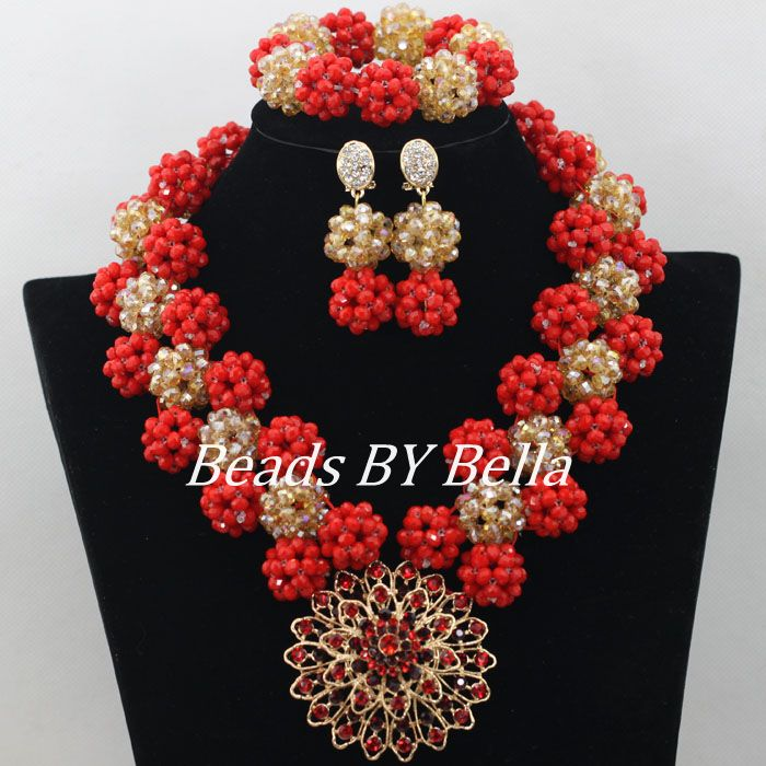 Stylish Red African Crystal Beads Necklace Bridal Jewelry Sets Nigerian Wedding African Beads Jewelry Set Free Shipping ABF184 amazing red nigerian wedding african beads jewelry set costume african jewelry sets bridal beads necklace free shipping abl001