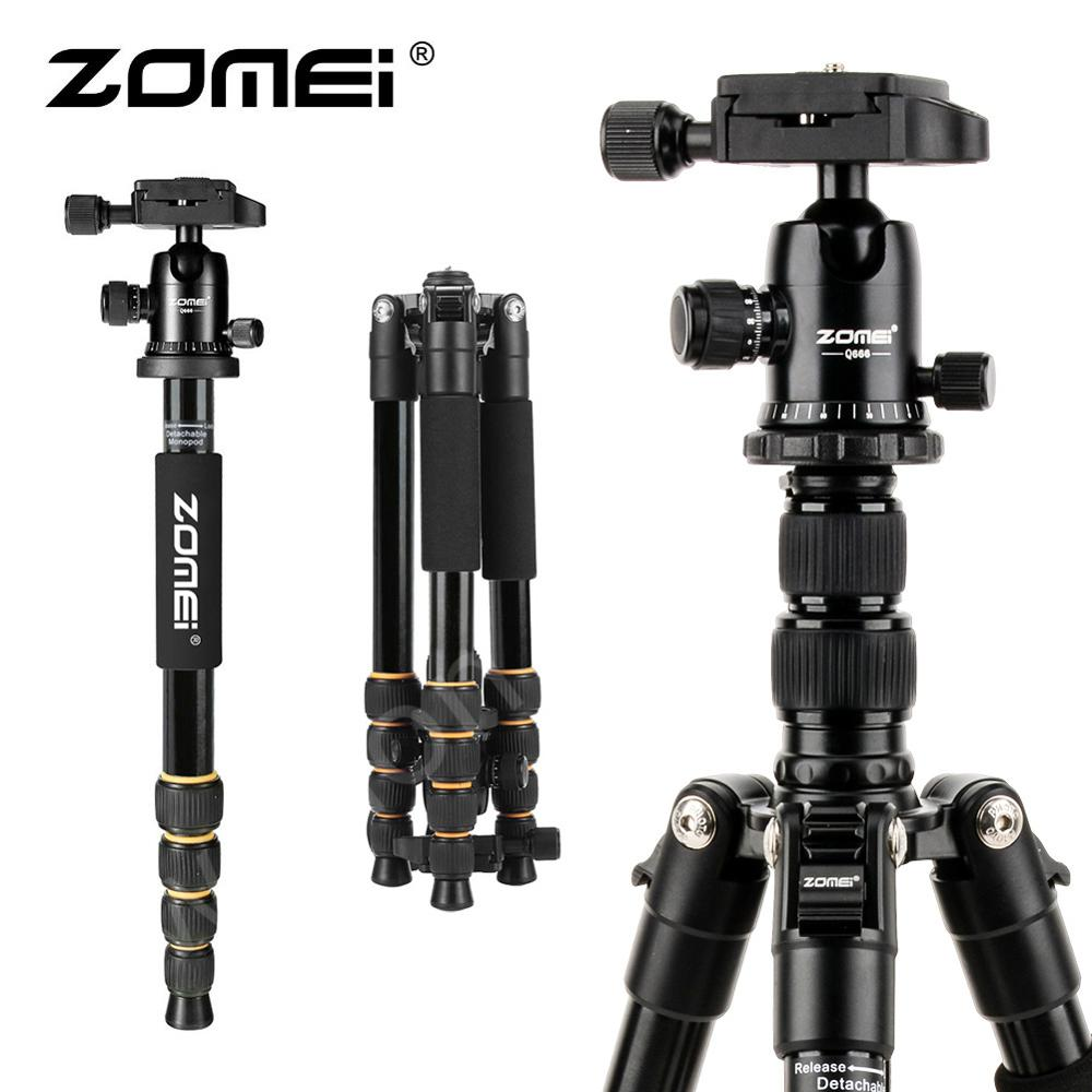 ZOMEI Portable Flexible Tripod Q666 Professional AluminumTravel Tripod Monopod With 360 Degree Ball Head For SLR DSLR Camera