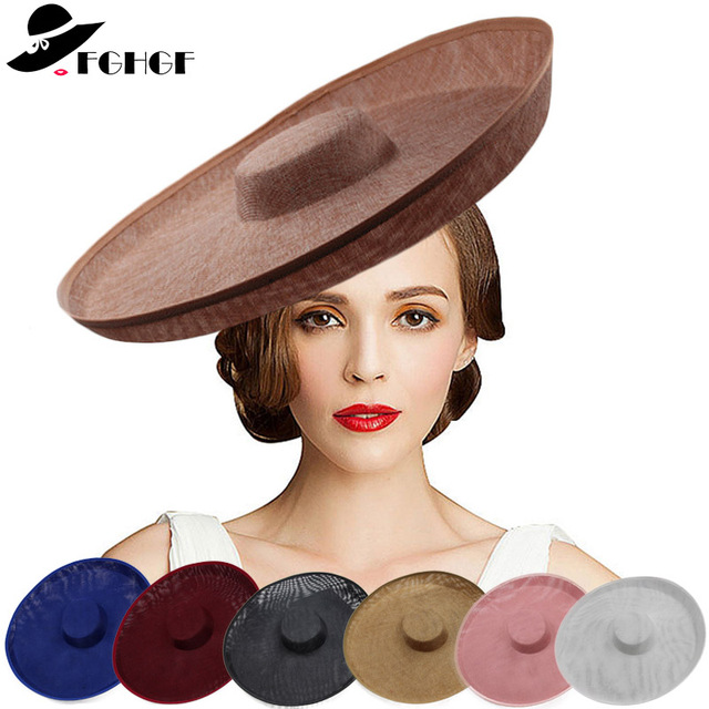 8e6d627d0ad Royal Lady Fascinator Wedding Hat Sinamay Hat Base Women White Black Big  Wide Brim Kentucky Derby Church Fedora Party Headpiece