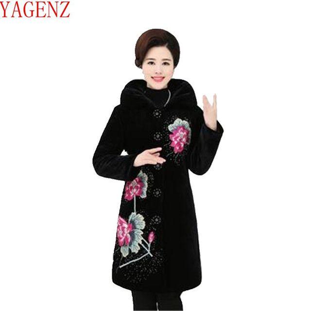b48f1b8d04dd YAGENZ Moda básico Das Mulheres casaco jaqueta de Inverno tamanho Grande  Bordado de Alta-grade