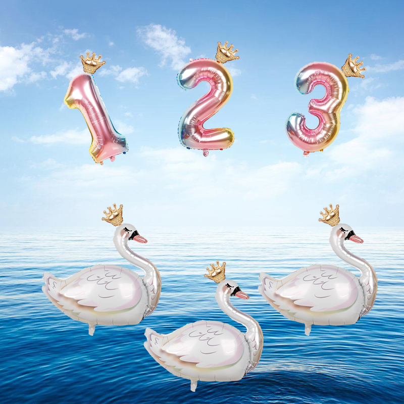 Large White Swan Aluminium Foil Number Balloons 32inch Digit 0-9 Birthday Wedding Party Decorations Kids Air Balls Baby Girl Toy