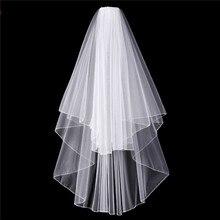 Esküvői fátyol fésűvel rövid ujjú fehér menyasszonyi köpenyek Olcsó Veu De Noiva Curto magas minőségű esküvői kiegészítők a menyasszony 2017