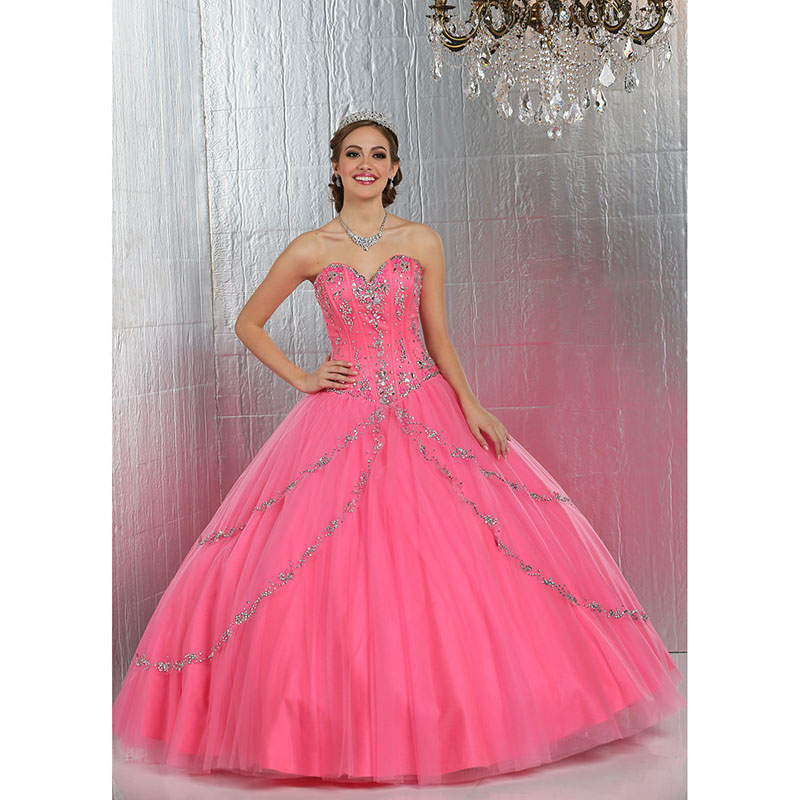 df46b3beac4 Stunning Bright Pink Quinceanera Dresses Ball Gown Sweet 16 Dresses Beaded  Sequins Tulle Jacket Pink Quinceanera Gowns 2017