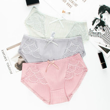 Roseheart Women Fashion Cotton Lace Bow Low Waist Sexy Panties Underwear Lingerie Briefs 3 Piece Color Underpants Lovely