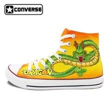 Высокий Верх желтый Converse All Star Для мужчин Для женщин кроссовки Dragon Ball пользовательские Дизайн ручной росписью обувь Для мужчин Для женщин рождественские подарки