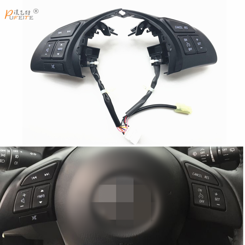 free shipping Multifunction Steering Wheel Switch Audio Bluetooth Cruise Control Switch Button For Mazda Atenza Axela CX5