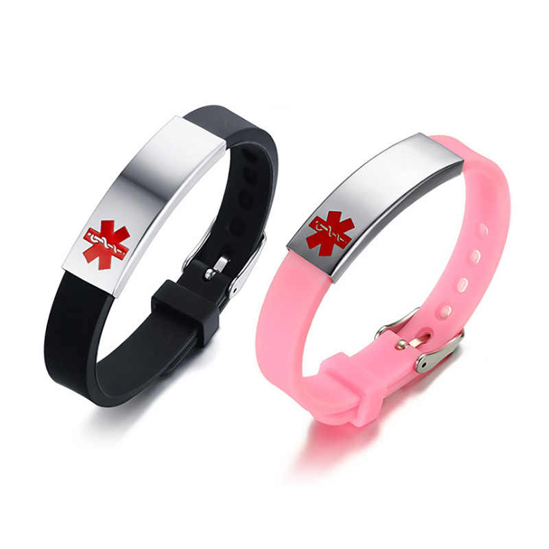 Women Medical Alert ID Bracelet Bangle Black Pink Silicone Bracelet for Women Lady Girl Jewelry