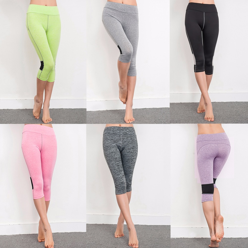 Fitness yoga pants leggings women stretch Capri pants Hips Push Up Cropped Trousers candy color compression running tights