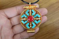 PN141 Ethnique Tibétain Bouddhisme Prière Boîte Gau Pendentif Main Népalais Cuivre D'or Pierre 37mm Ronde Prière Amulette