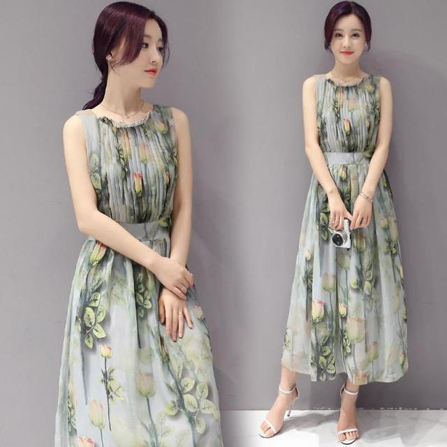 49dfa9049d 2019 Elegant Women Dress Sleeveless Chiffon Dress Korean Slim Waist Vest  Pleated Dress Floral Printed Sommerkleid