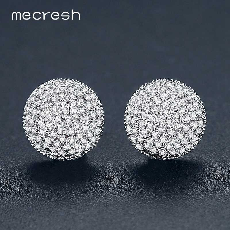 Mecresh AAA CZ Cute Black Round Stud Earrings for Women Vintage Small Ball Party Prom Fashion Earrings Christmas Jewelry EH1096