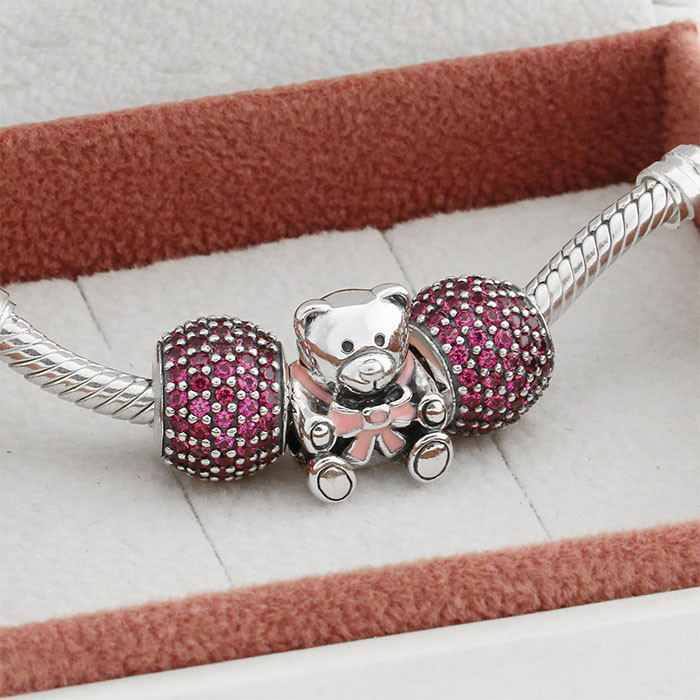 Fit With European Charms Bracelet 925 Sterling Silver Charm Sparkling Pink Bear Beads Women DIY Jewelry Charms Beads