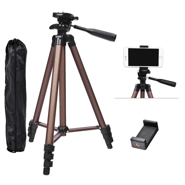 Fusitu WT3130 Aluminum Alloy Tripods Mini Camera Tripod Stand With Smartphone Holder 1/4 Screw For DSLR Camera Mobile Phone
