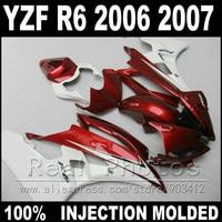 Free custom body kit for YAMAHA R6 fairing kit 2006 2007 Injection molding wine red white black 2006 2007 YZF R6 fairings