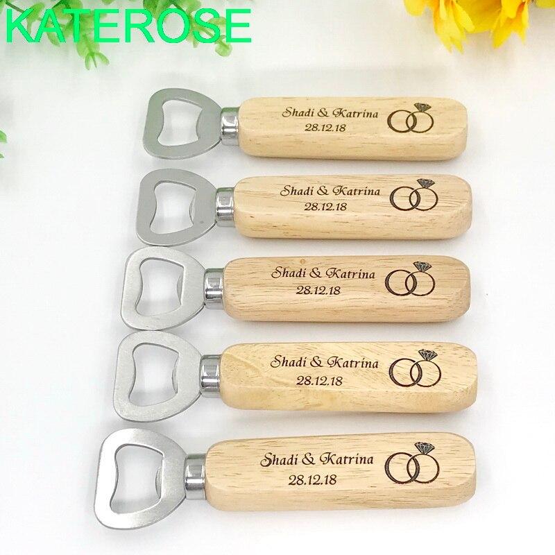 60PCS Customized Wood Bottle Opener DIY LOGO Beer Openers Personalized Wedding Bridal Shower Favors