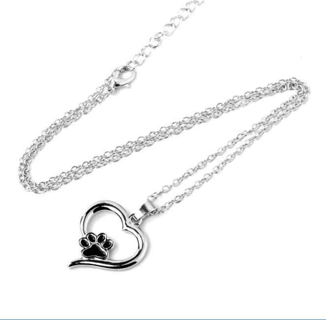 New Always in my Heart Dog Cat Foot Paw Print Heart Pendant Necklace Footprint Memorial Animal Keepsake Jewelry For Pet Lover