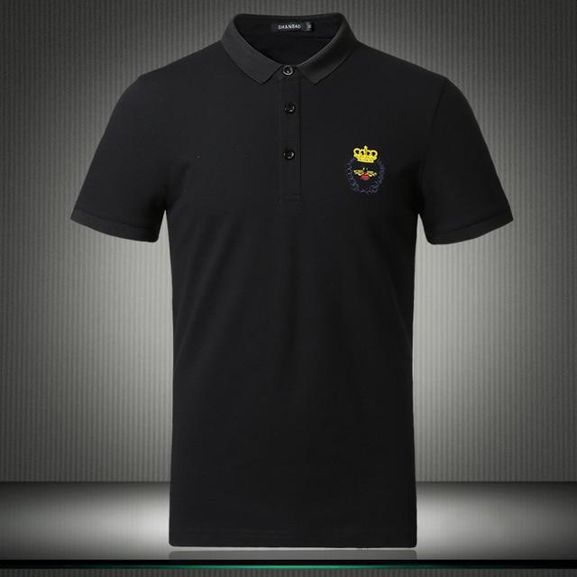2019 Новый Топ Дизайнер famhouse бренды рубашек-Поло рубашка для мужчин шорты с рукавами Повседневные однотонные воздухопроницаемые рубашки плюс размер M-4XL 5XL 81862