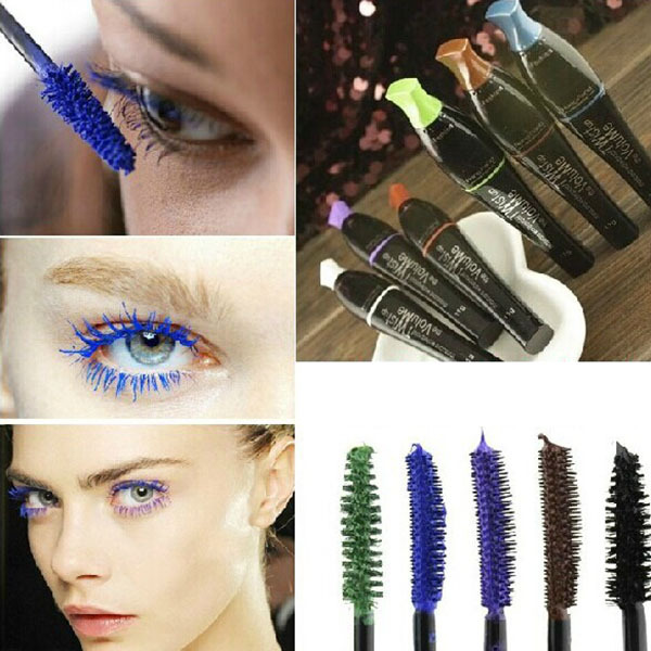 Terbaru kalis air Blue Purple Black Brown Mascara Long Fiber Curl Extending Eyelash