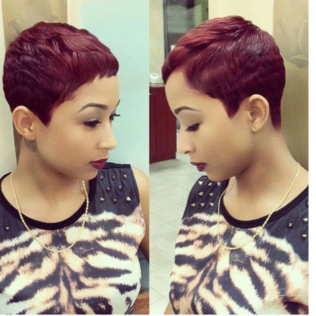 Short Straight Hair Burgundy Wig Fashion Haircuts For Women Wine Red Perruque Synthetic