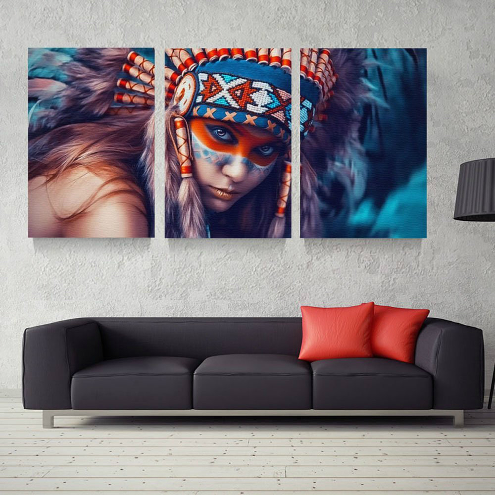 online shop home decor wall art canvas paintings frame 3 panel online shop home decor wall art canvas paintings frame 3 panel native american indian girl feathered for living room wall modern painting aliexpress