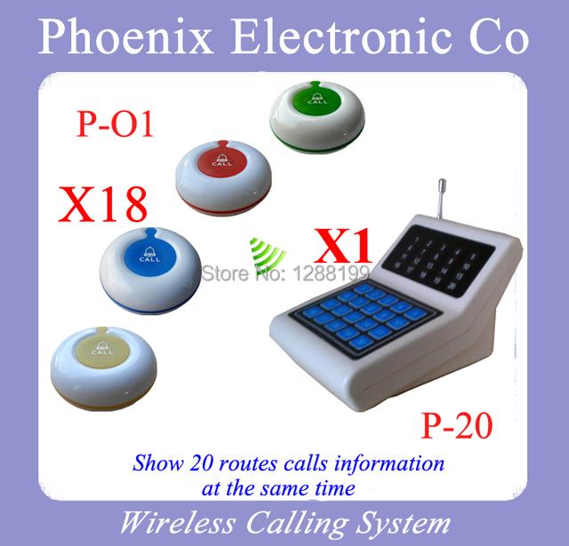 Envío Libre de DHL, Restaurante Pager Con Código de Botón y el Restaurante Sistema de Pedidos Wireless, 18 Campanas y 1 P-20 Receptor