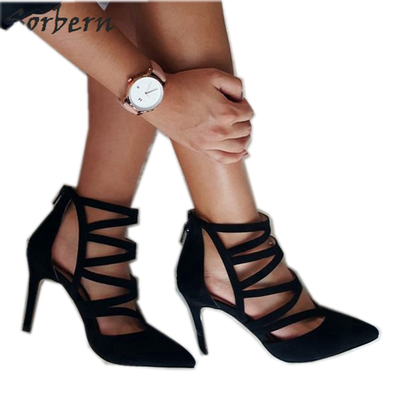 Black Hollow Out Pointed Toe Gladator Style Women Pumps