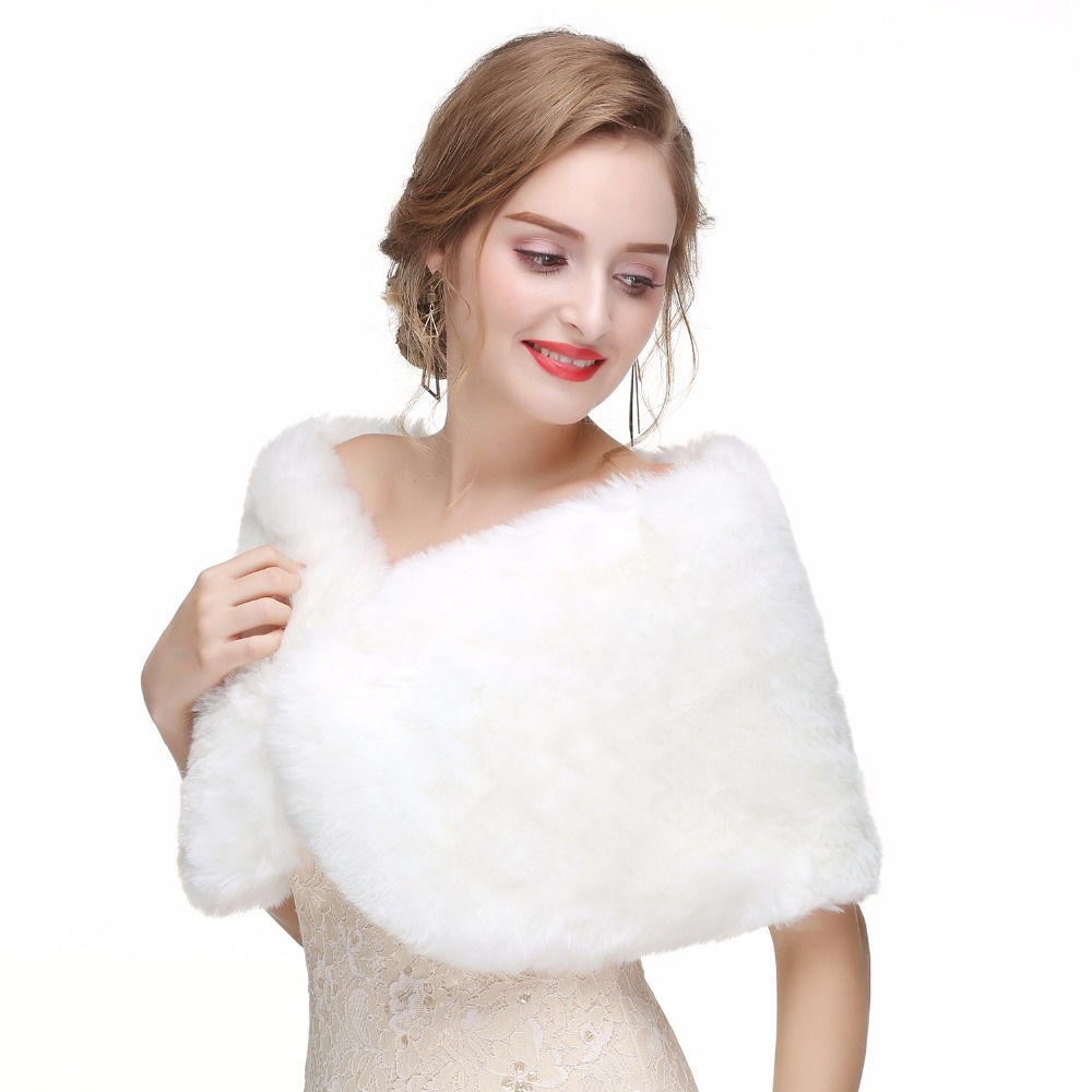 3b70ab5e9577a US $24.34 JaneVini Chic Bridal White Cape Shawl Faux Fur Wrap Winter ...