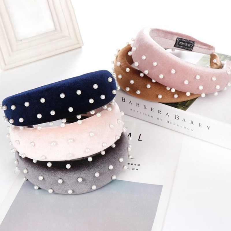 Thick Velvet Women Headband Hair Accessories Head Band Fashion Headwear Pearl Hairbands For Woman Drop Shipping