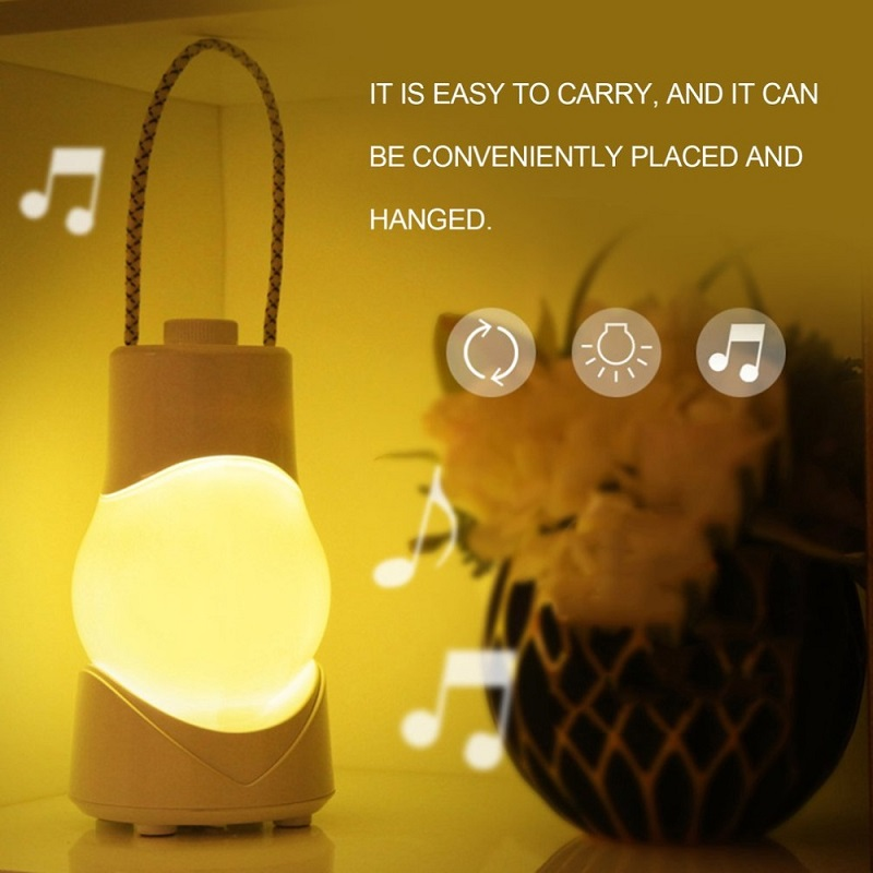 2018 Music Creative LED Night Light Portable Hanging Lamp USB Rechargeable Dimmable Desk Lamp with Music Box Emergency Light