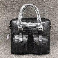 Luxury Genuine Crocodile Leather Men Flap Pockets Handbag Exotic Real Alligator Belly Skin Male Large Single Cross Shoulder Bag