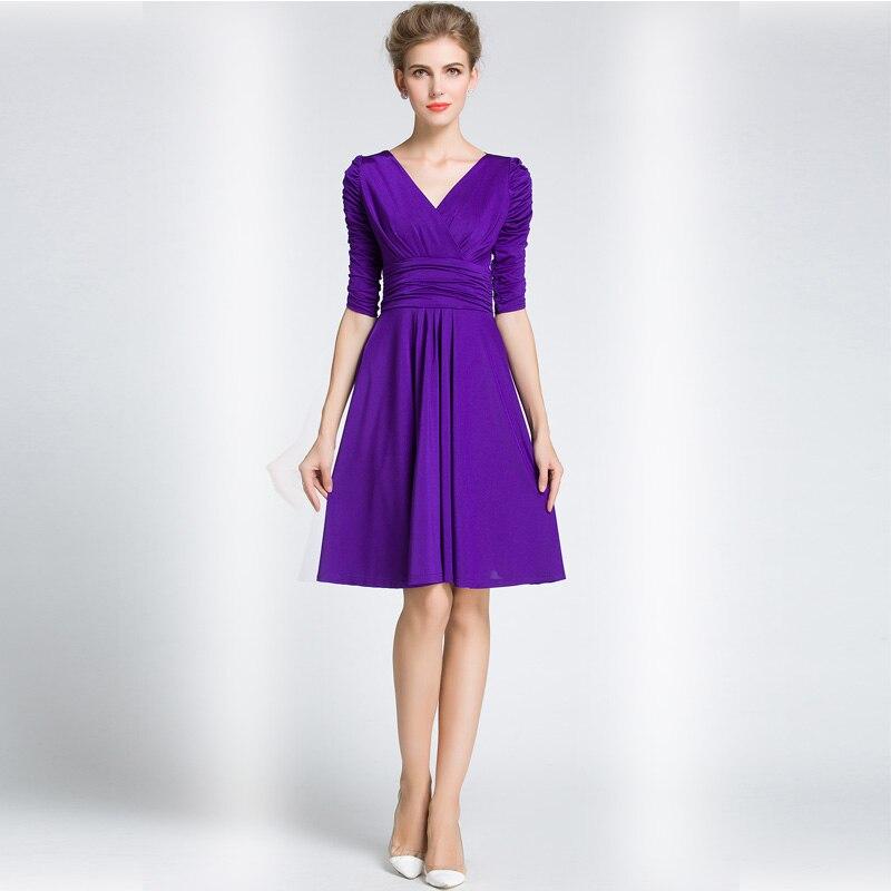Mujeres acanalada cintura elegante V cuello Jersey vestido de ...