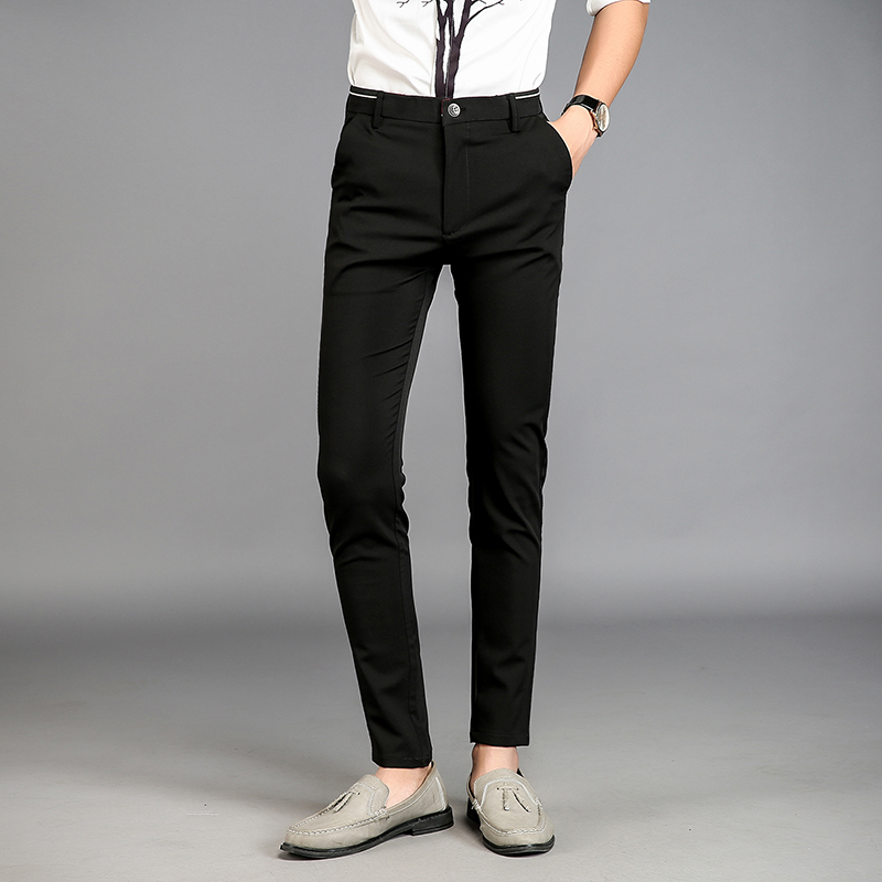 Aliexpress.com  Buy Fashion Ankle Length Black Suit Pants Fit Men Trousers Men Casual Pants ...