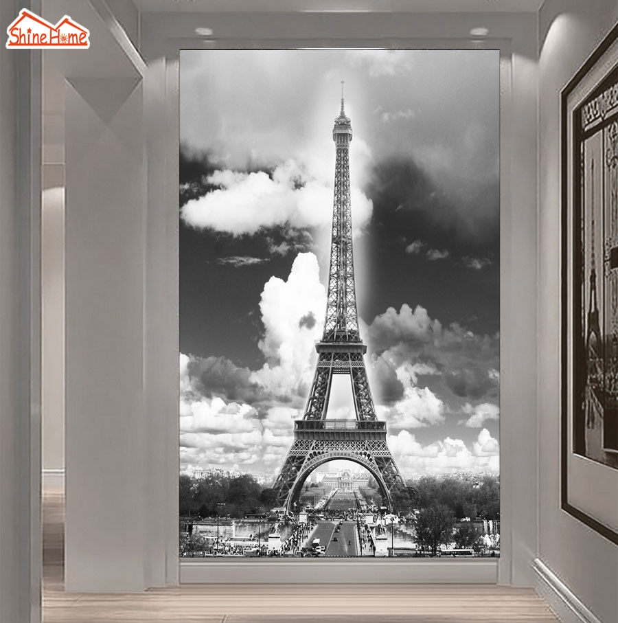 ShineHome-Eiffel Tower Black White Aisle Door 3d Wallpaper Rolls for Walls 3 d Livingroom Wallpapers Mural Room Wall Paper Decor shinehome abstract brick black white polygons background wallpapers rolls 3 d wallpaper for livingroom walls 3d room paper roll