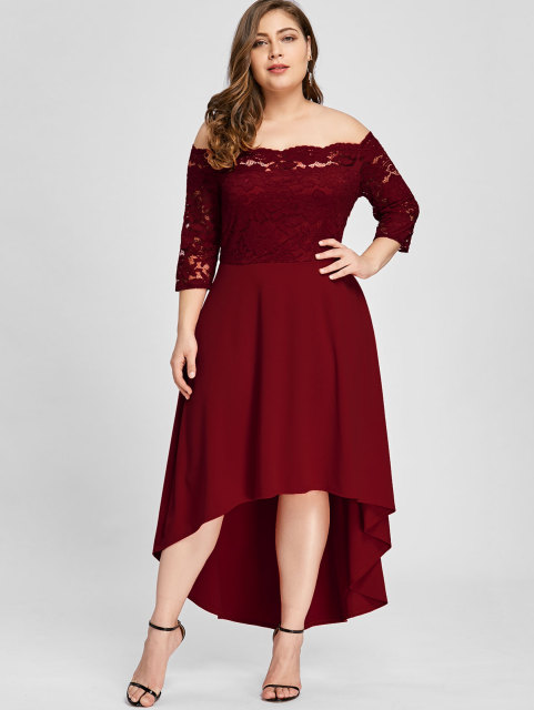 d7b530b922 Gamiss Women Party Dress Plus Size Off Shoulder Dip Hem Lace 3/4 Length  Sleeves