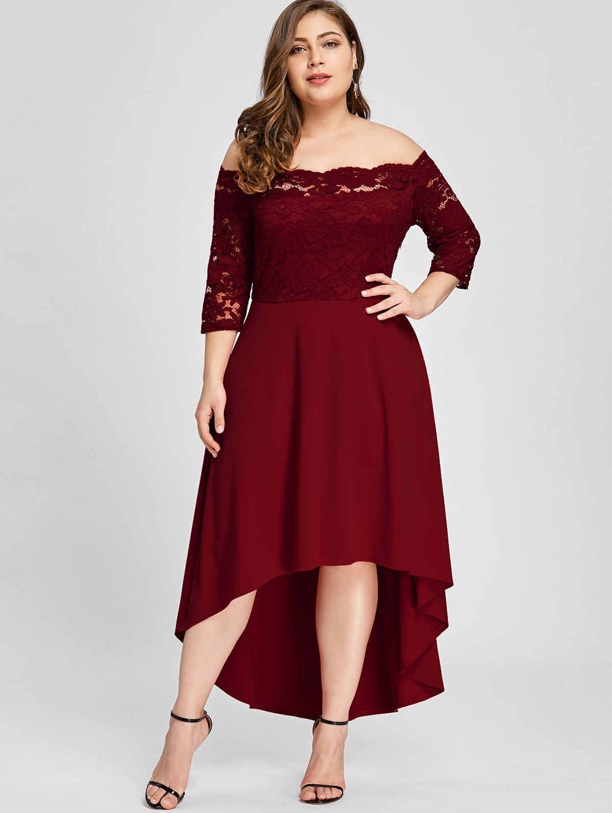 06912ddee4 Wipalo Women Party Dress Plus Size Off Shoulder Dip Hem Lace 3 4 Length  Sleeves