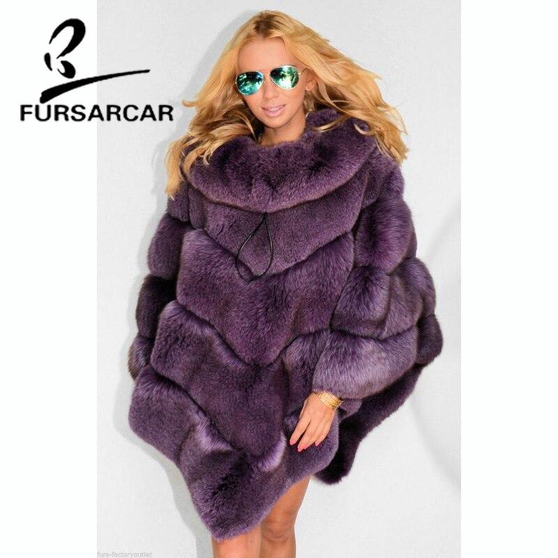 FURSARCAR Reale della Pelliccia di Fox Scialli di Modo Delle Donne Pelliccia di Volpe Del Capo Femminile 2018 Nuovo Inverno Di Lusso di Stile Del Capo di Spessore Con Pelliccia collare