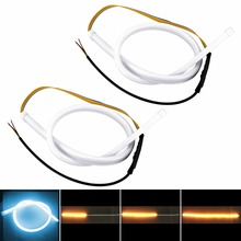 2x Car-styling Car Auto Cool Blue Amber White Sequential Flow Strip LED Flexible DRL Headlight Turn Signal Switchback Light Lamp