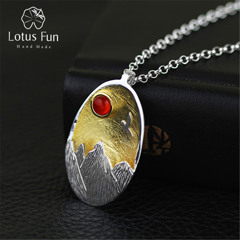 Lotus Fun Real 925 Sterling Silver Natural Agate Handmade Fine Jewelry The Sunset Pendant without Necklace Acessorios for Women 2 3mm red natural agate necklace multi layers 925 sterling silver with real pearl fine womne jewelry wedding party necklace