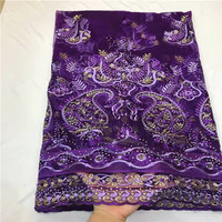 2018 New Design Good Quality French Lace Fabric With Stones Purple Tulle Lace fabric for 5 yards dress material